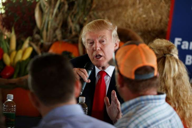 Republican presidential candidate Donald Trump speaks during a meeting with local farmers at Bedners Farm Fresh Market, Monday, Oct. 24, 2016, in Boynton Beach, Fla. (AP Photo/ Evan Vucci)