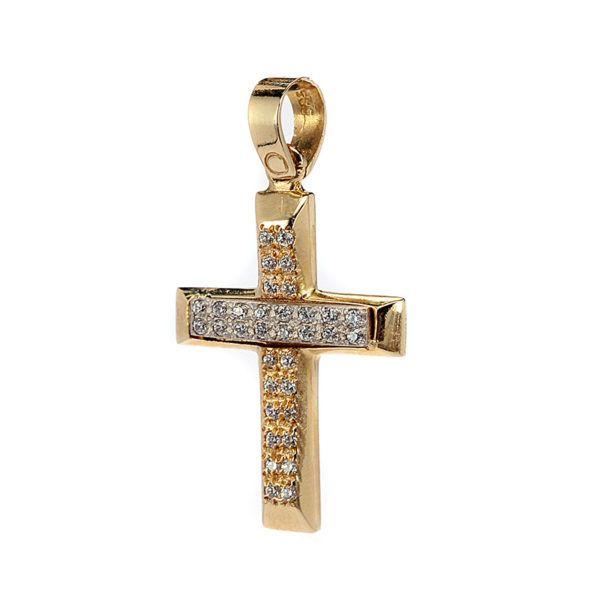 Σταυρός γυναικείος χρυσός Κ14 ζιρκόν 7939
