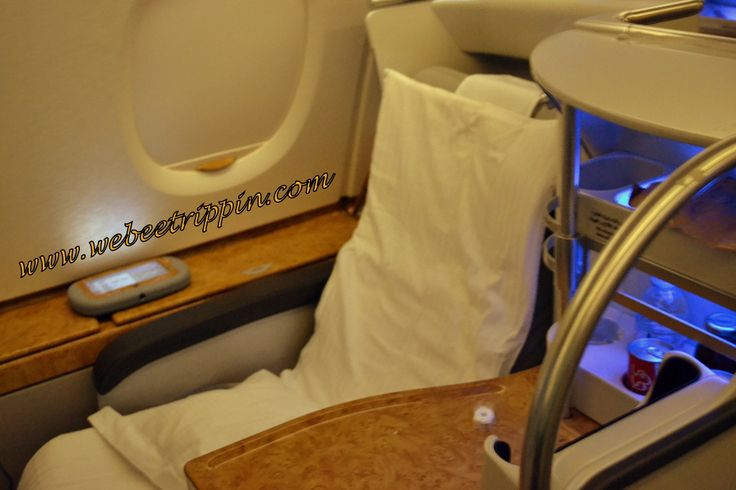 Emirates Airlines A380-800 - Business Class seat after turn-down service