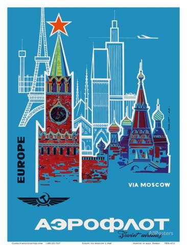 Europe via Moscow - Aeroflot (Soviet Airlines) - National Airline of Russia Art Print