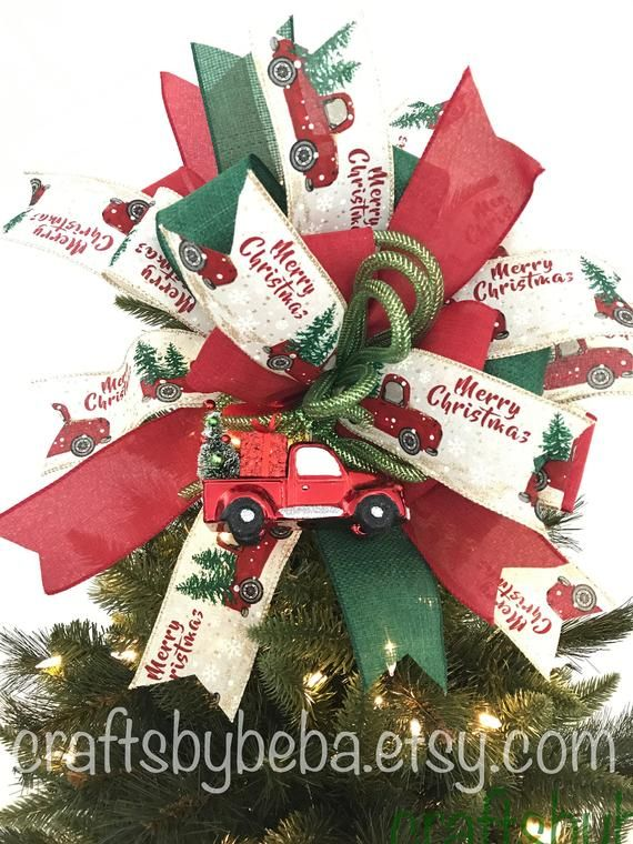 Red Truck Christmas Bow Christmas Tree Topper Xmas Red Etsy Christmas Tree Toppers Green Christmas Tree Christmas Decorations Online