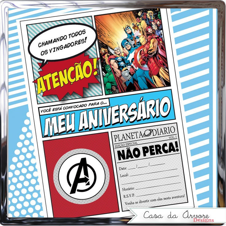 Convite Pop Art Vingadores - Avengers - DC Marvel Comics Veja como obter aqui: http://www.elo7.com.br/convite-tema-os-vingadores/dp/2F2282 Veja mais opções com personalização exclusiva