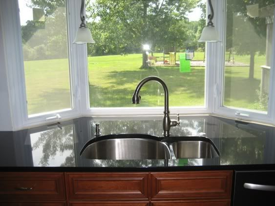Kitchen, Antique Sconces Beautify White Bay Window In Classic Kitchen That  Also Using Wooden Kitchen Cabinet Plus Black Glossy Countertop And Stylish  Sink ...
