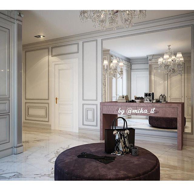 Апартаменты. Холл-прихожая. #egorova_marina #domoff_group #domoff_interiors #domof #3dvisualization #3dmaxdesign #vrayrender #3dviz #luxuryinterior #luxuryinteriors