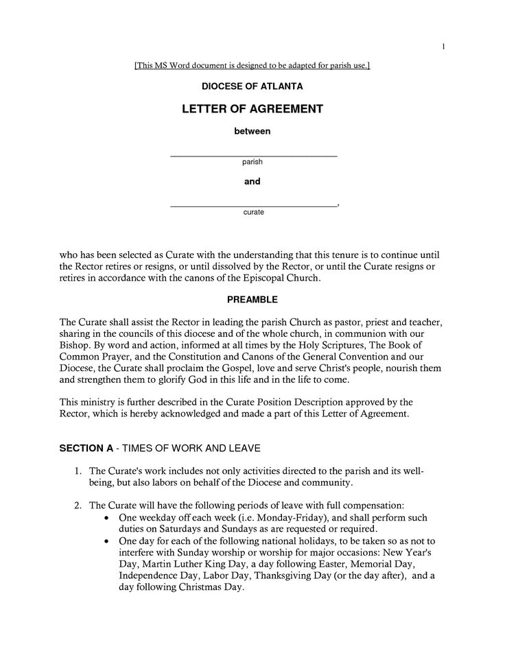 Agreement Letters Previousnext Samples Of Contract Letters