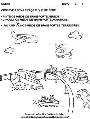 conhecimento do mundo meios de transporte atividades - Pesquisa Google