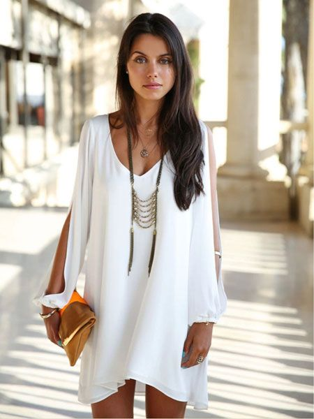 SheIn offers V Neck Split Sleeve Lovely Adorable Chiffon Styles White Dress  & more to fit your fashionable needs.