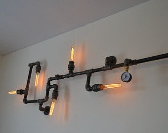 Industrial Steampunk Pipe Wall Light [Edison Bulbs Included]