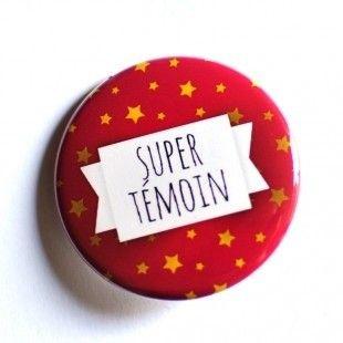 Badge 38 mm Cadeau mariage Super témoin  : Pins, badges par bullesdeneige