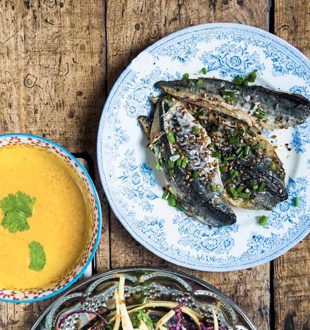 Mackerel with Carrot Miso Dressing