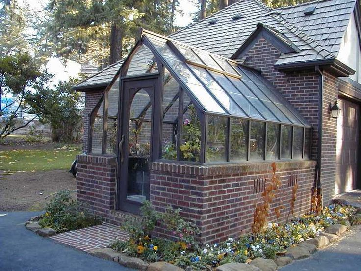 Tudor Redwood Greenhouse Attached At Gable End And Stained Brown