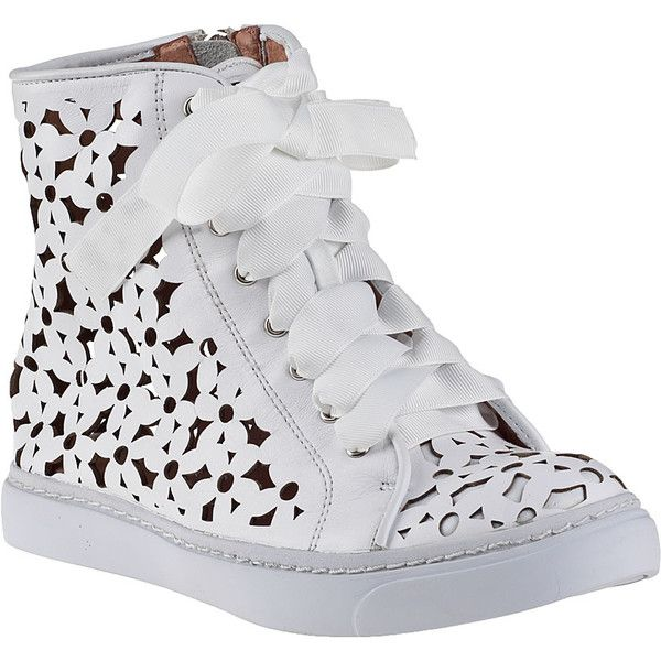 JEFFREY CAMPBELL Adaisy Hi-Top Sneaker White Leather ($180) ❤ liked on Polyvore featuring shoes, sneakers, white leather, white shoes, white high top sneakers, leather shoes, high top sneakers and leather high tops