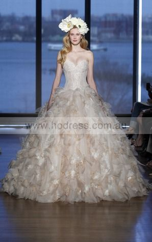 Sleeveless Lace-up Organza Sweetheart Ball Gown Wedding Dresses gjcf1014--Hodress