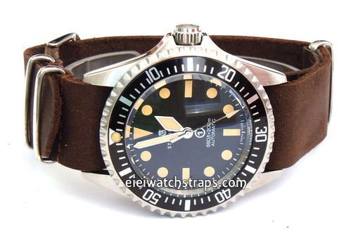 NATO Genuine Coffee Brown Leather Watchstrap For Steinhart ...