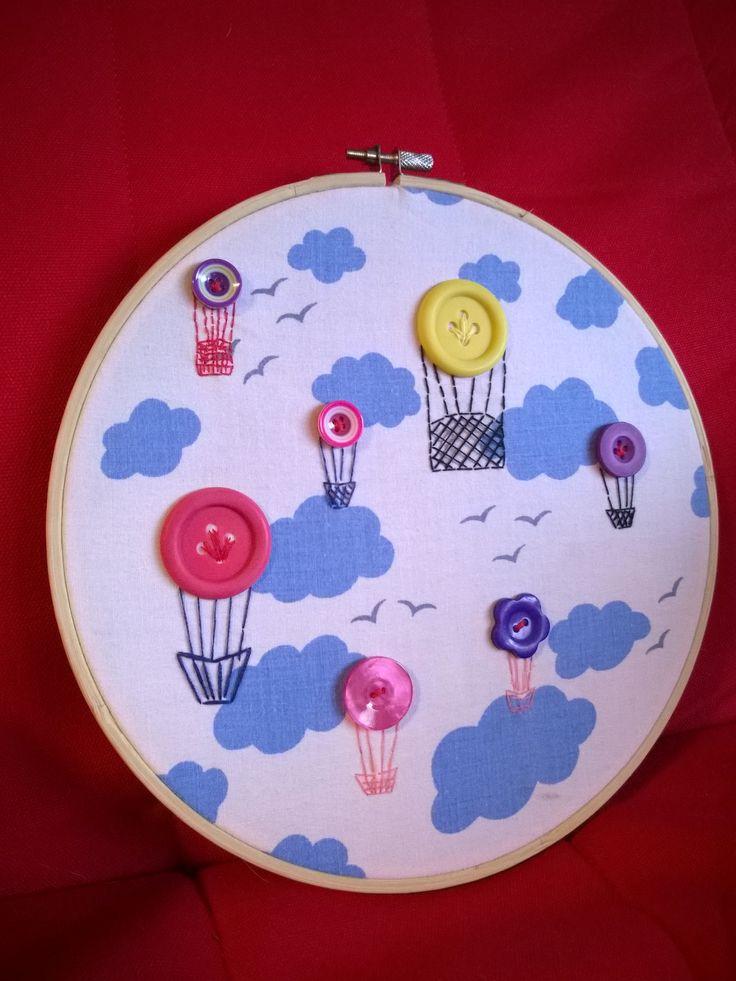 Stickerei, Ballons, Heißluftballons, Hotair-balloon, Himmel, wolken, Embroidery-hoops, Wall-decoration, Button-Craft
