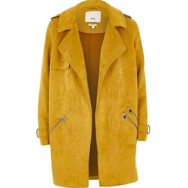 River Island Petite mustard yellow faux suede trench coat (455 PEN) ❤ liked on Polyvore featuring outerwear, coats, coats / jackets, women, yellow, open front coat, mustard trench coat, trench coats, faux suede coat and petite coats