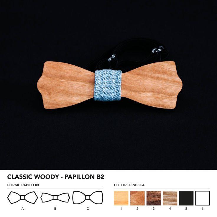CLASIC WOODY - PAPILLON B2  Papillon in legno di ciliegio. Nodo centrale personalizzabile in base alle vostre esigenze e alle nostre disponibilità.  N.B. Usando legno massello naturale ogni prodotto presenta diverse venature e sfumature di colore, rendendo così ogni papillon unico è diverso dagli altri.