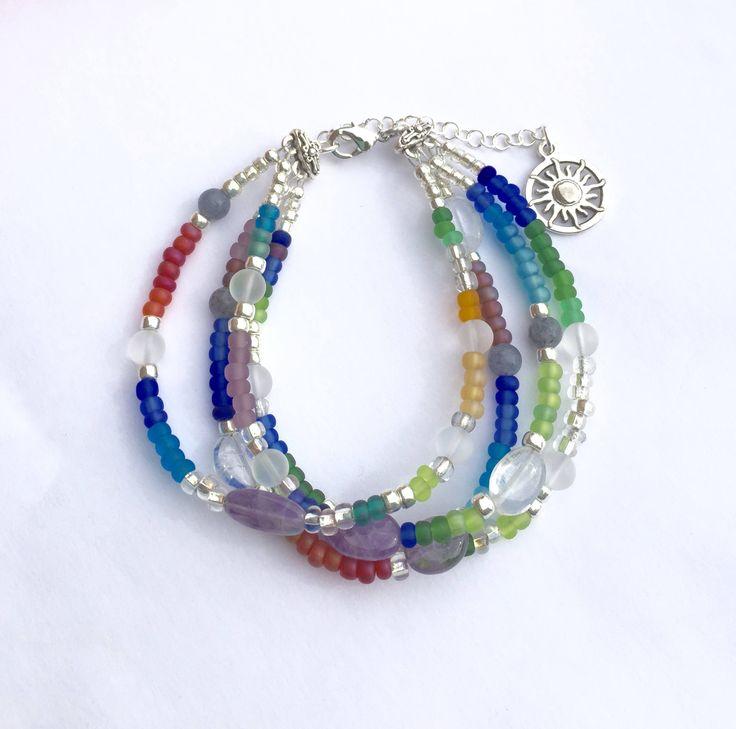Rainbow Bracelet, Multi Strand Bracelet, Beaded Multi Colored Multi Gemstone Bracelet, Amethyst Bracelet, Gift for Her, Christmas Gift https://www.etsy.com/listing/567570055/rainbow-bracelet-multi-strand-bracelet?utm_campaign=crowdfire&utm_content=crowdfire&utm_medium=social&utm_source=pinterest