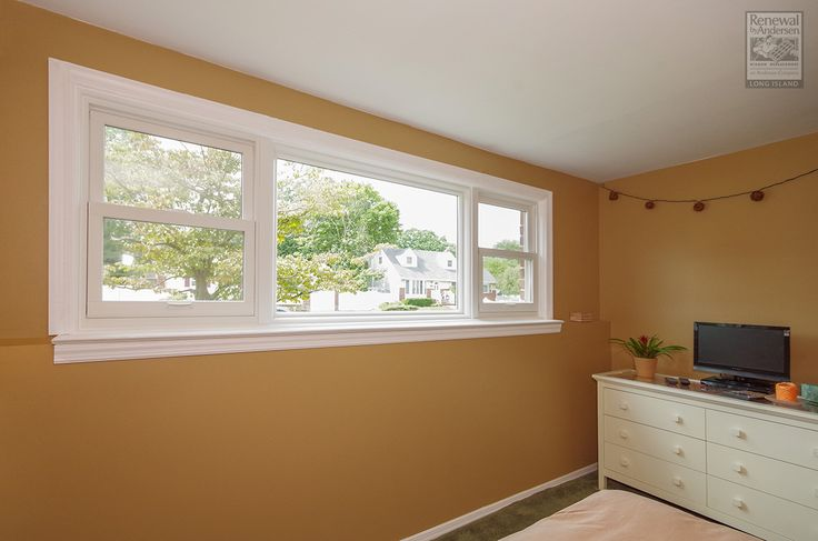 A great double hung and picture window combination we installed in this bedroom in Deer Park  . . . . . . .  Home Remodeling / Renovations / Home Improvements / Replacement windows from Renewal by Andersen Long Island