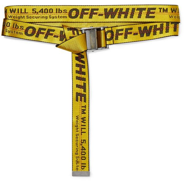 Off-White Canvas belt ($210) ❤ liked on Polyvore featuring accessories, belts, yellow, long belt, canvas belt, buckle belt, oversized belt and braided belt