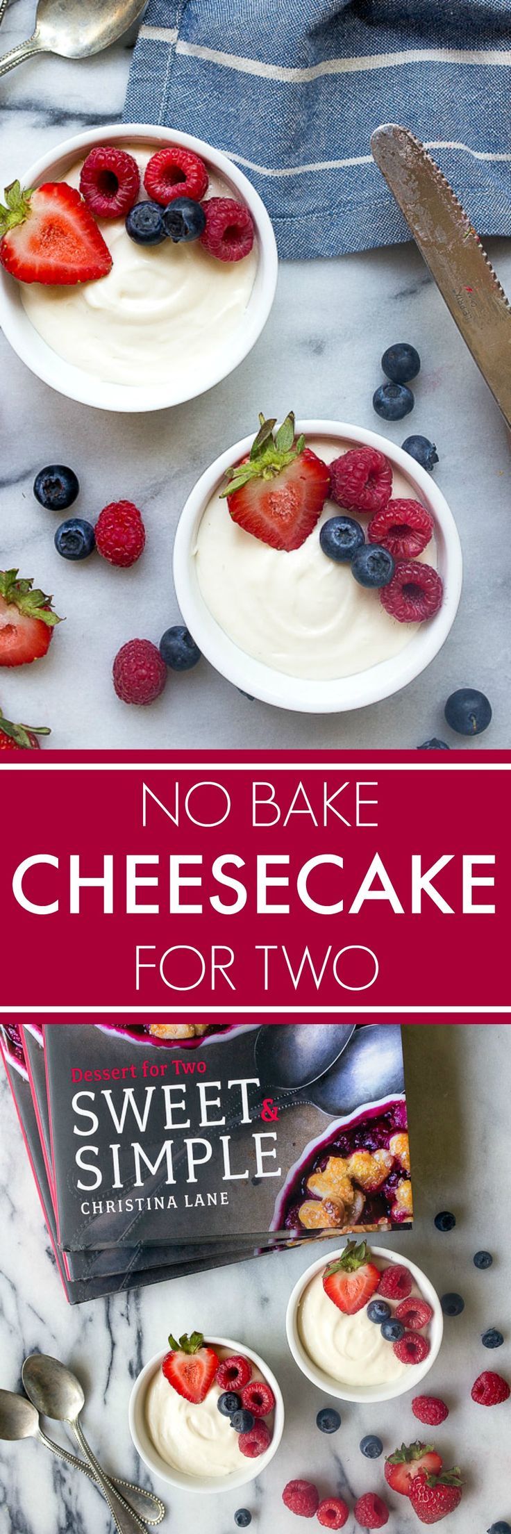No bake cheesecake for two. Perfect 4th of July dessert idea. Small batch cheesecake two servings. Baking for two.