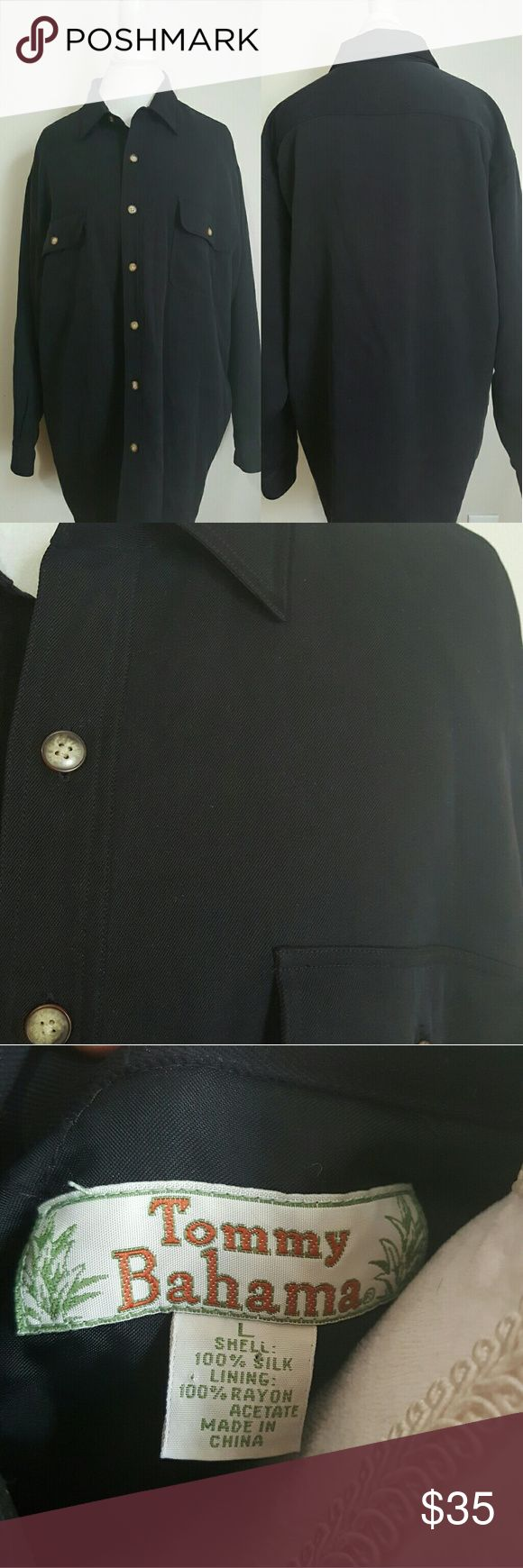 TOMMY BAHAMA 100% SILK, QUILTED BUTTON DOWN Gently worn 100 %Silk, quilted, black, Tommy Bahama button down. Size Large.( appears to run big, measurements included).  ✔25' Armpit to Armpit  ✔32' Length  ✔ Condition: Gently Worn Still in good condition. Tommy Bahama Shirts Casual Button Down Shirts