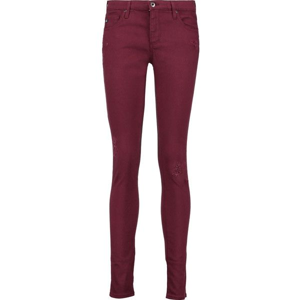AG Jeans The Legging mid-rise skinny jeans ($115) ❤ liked on Polyvore featuring jeans, burgundy, burgundy skinny jeans, super skinny ripped jeans, distressed skinny jeans, ripped jeans and destructed jeans