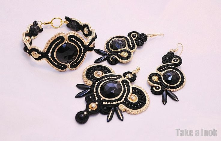 soutache black set