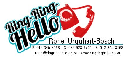 email signature for Ring-Ring-Hello. logo was provided, we turned it into a e-signature