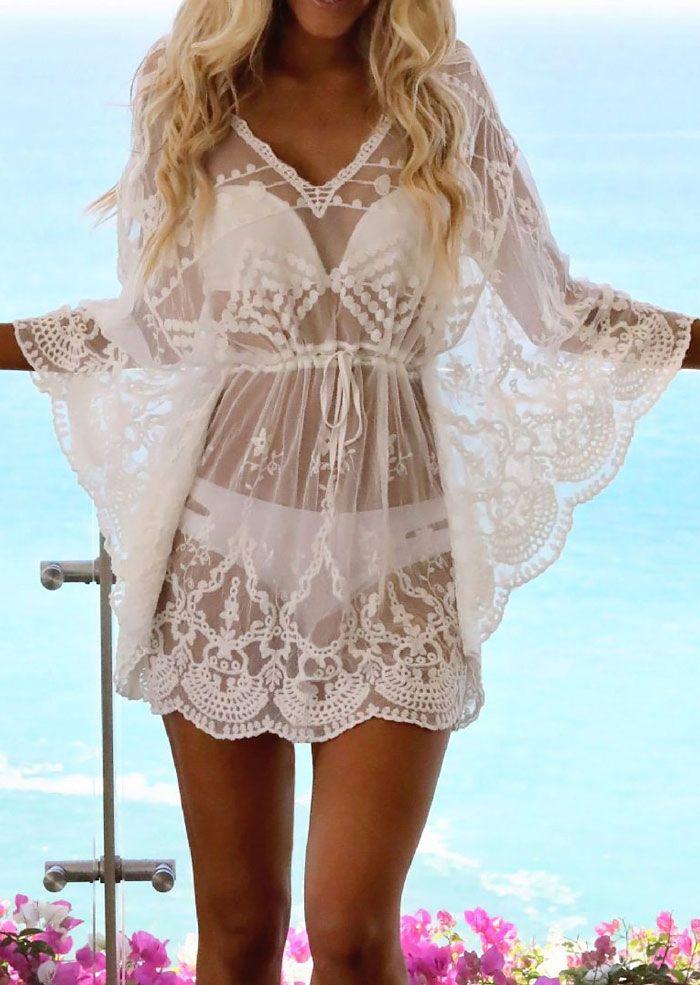 Women Beach Dress Bikini Cover Up Summer Lace Solid Swimwear Beach Dress