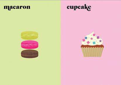 Paris VS New York.   Macaron vs Cupcake.