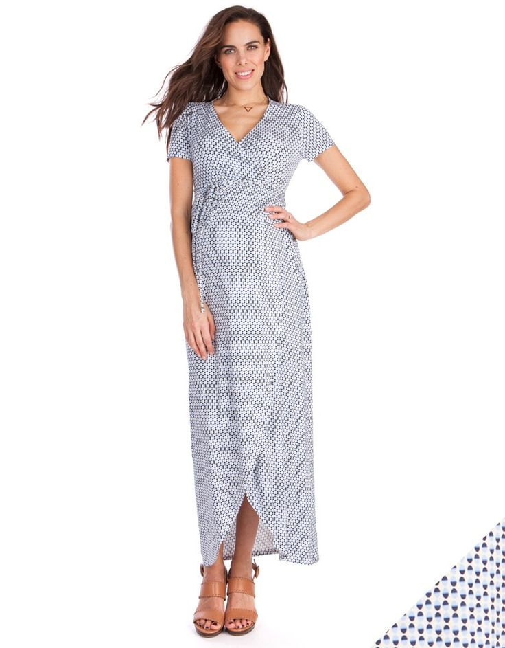 In a soft sky blue print, this stunning maternity maxi dress is one of our must-have styles for this summer. Made in our signature stretch jersey, it's designed to drape beautifully over your curves, offering a flexible fit through every stage of pregnancy. The chic mock-wrap style draws the eye to your slimmest point at the empire waist, which is gently elasticated to allow plenty of room to grow. The curved hemlines create a feminine draped slit effect at the side, while the flattering v…