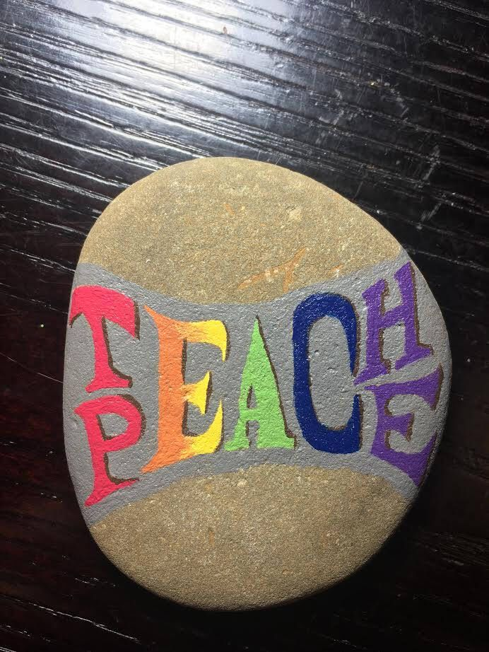Teach Peace Painted Rock - hand painted rock art gift unique geocaching by ImaginationCanada on Etsy https://www.etsy.com/listing/535413523/teach-peace-painted-rock-hand-painted