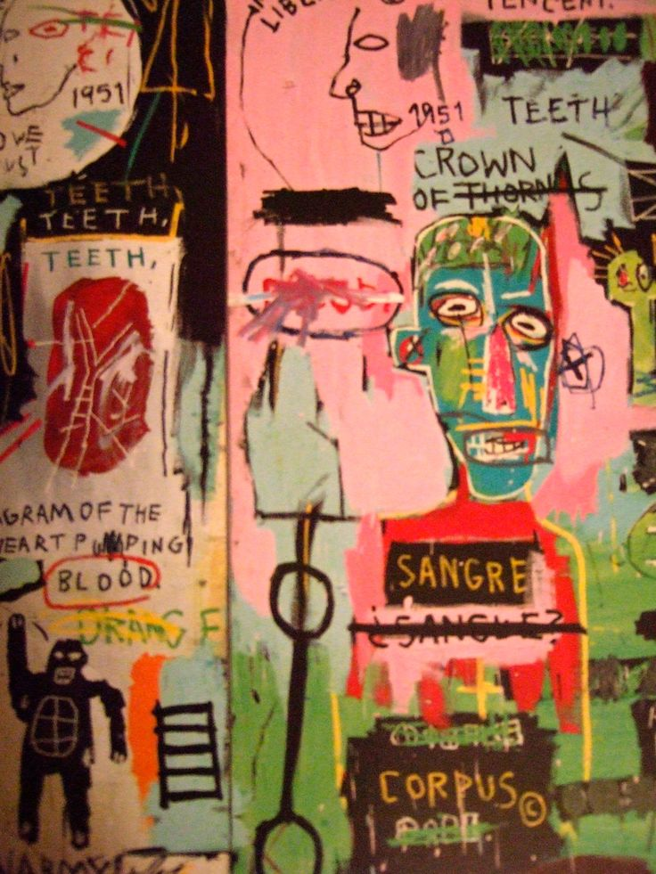 Jean-Michel Basquiat. The best. KAGADATO selection. **************************************BASQUIAT. I like that there is a lot going on in this piece because you don't have to focus on one thing and it really moves the eye. He also uses words a lot, but I am not sure if I want to do the same with my piece.