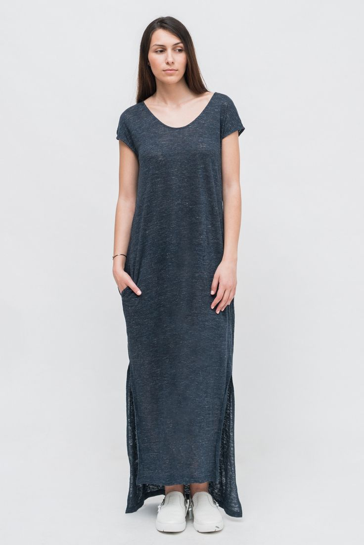LONG NAVY MELANGE DRESS from Ozon Boutique