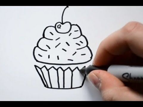 How to Draw a Cartoon Cupcake.  This could be used for a lesson on texture; the cupcake holder and the cupcake and the sprinkles and cherry
