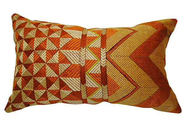 Gold Indian Phulkari Bagh Pillow on OneKingsLane.com