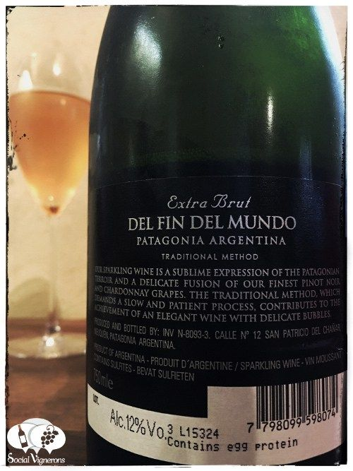 Score 89/100 Wine review, tasting notes, rating of Fin del Mundo Extra Brut Sparkling, Patagonia. Description of aroma, palate, flavors. Join the experience.