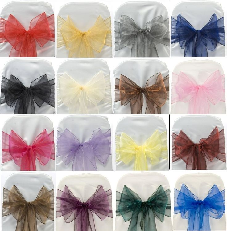 50 WEDDING ORGANZA CHAIR COVER BOW SASH FOR SALE UK