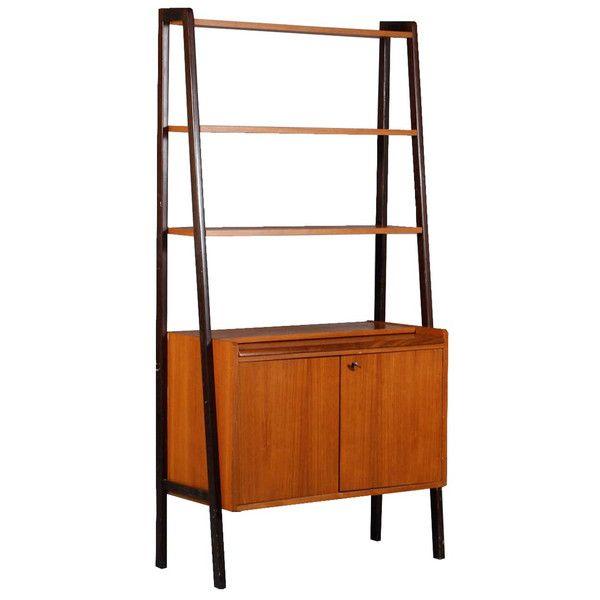 mid century modern ebonized and teak open bookcase cabinetbar cabinet