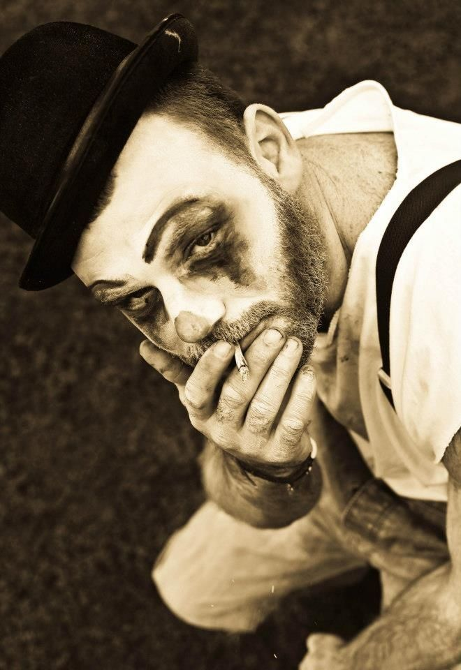 Clown , circus , portrait , dark man makeup