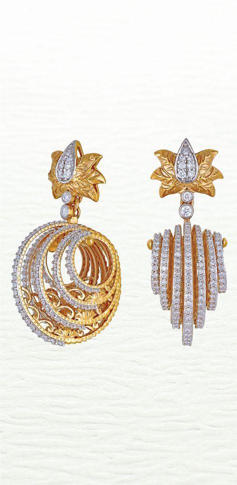 029a022f75261 Modern diamond studded earring by Azva #Goldjewellery #luxury #style ...