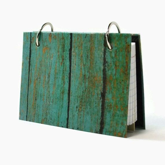 3 x 5 index card laminated binder, turquoise weathered barn wood, journal diary, recipe binder, index card holder with  tab dividers @artbysunfire