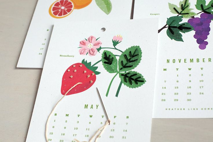 Embroider a bounty of fruit year-round with this easy poke-and-stitch calendar kit. Using the embroidery floss, needle and calendar cards provided, learn four s