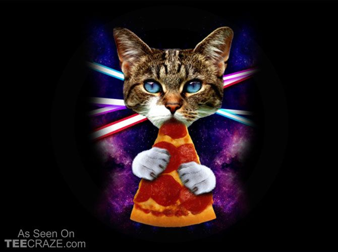 Cat Galaxy Pizza T-Shirt - https://teecraze.com/cat-galaxy-pizza-t-shirt/ -  Designed by guzikArt    #tshirt #tee #art #fashion #TCRZ #clothing #apparel