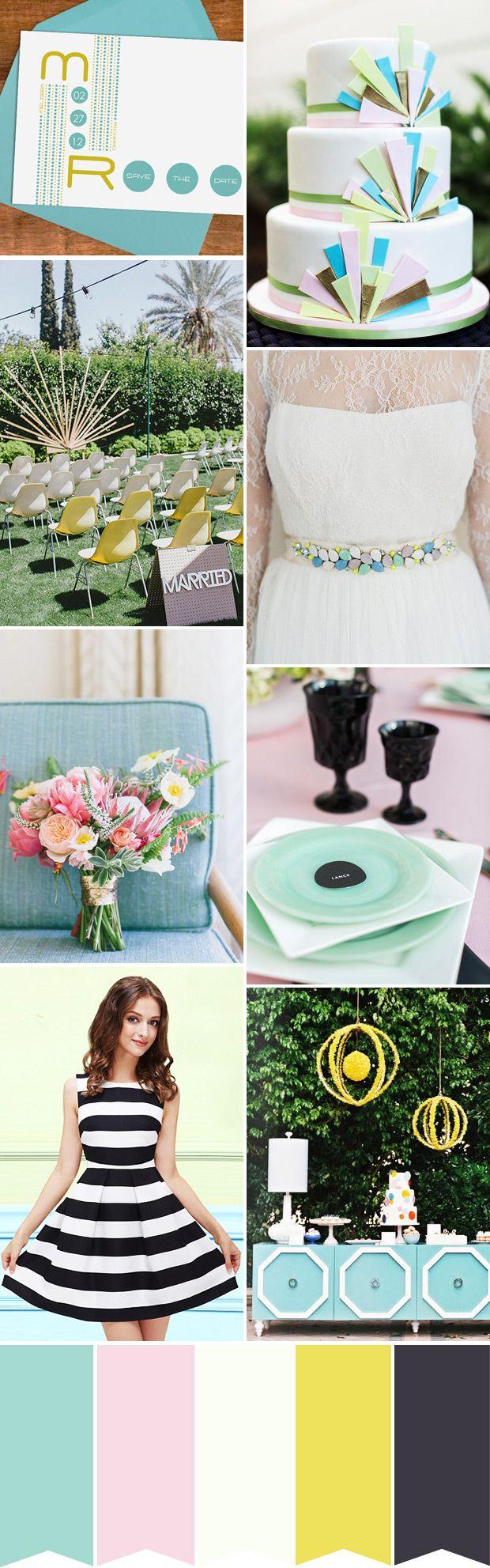Pastel and Monochrome Wedding Palette with a Mid-Century Modern Twist   www.onefabday.com