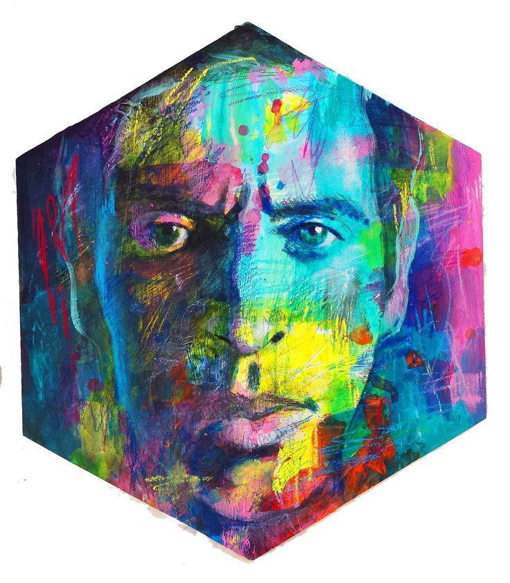 "Davide Ricchetti ""selfportrait"" acrilic on wood, 2015"