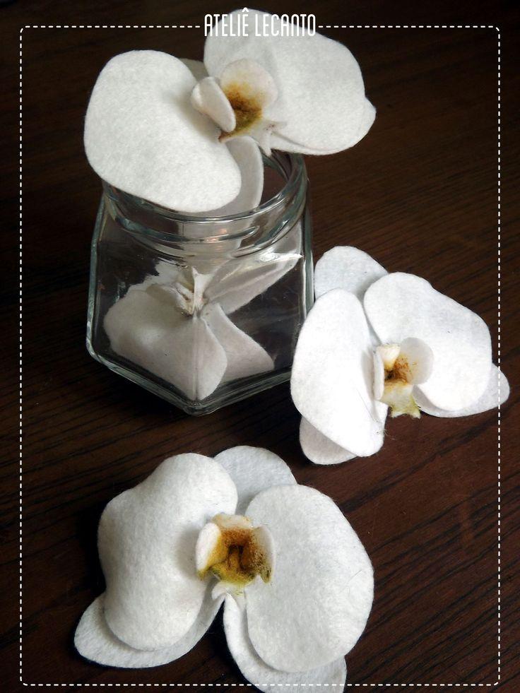 Orquídea de feltro - orchidea di feltro - felt orchid flower