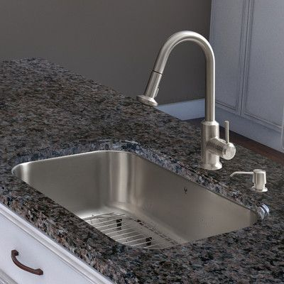 Vigo 30 Inch Undermount Single Bowl 18 Gauge Stainless Steel Kitchen Sink  With Astor Stainless Steel