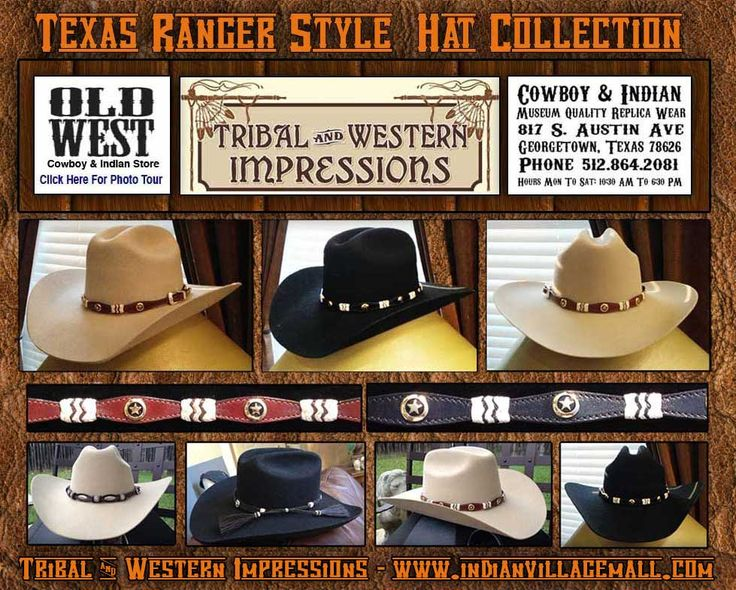 Exclusive Texas Rangers Style Cowboy Hats With German Sliver Circle Star hat Bands from Tribal And Western Impressions - www.indianvillagemall.com